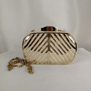 Urban Expression Box Clutch Purse, Gold & Natural
